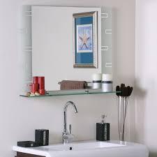 bathroom frameless mirrors frameless contemporary bathroom mirror with shelf in frameless mirrors