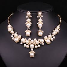 earring necklace sets cheap images Trendy indian jewelry set wedding bridal accessories gold color jpg
