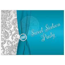 sweet 16 birthday invitation turquoise silver damask printed