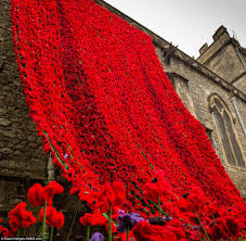 display of poppies on army garrison church in a tribute to mark