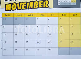 calendar showing thanksgiving day