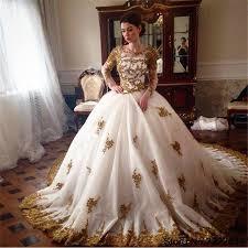 mariage arabe de luxe robes de mariage arabe 2017 délicat perlée d or appliques