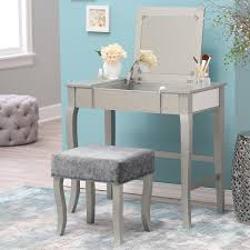 Vanity With Stool Linon Harper Silver Mirrored Vanity Set Hayneedle