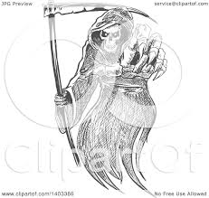clipart of a gray sketched grim reaper holding a scythe and