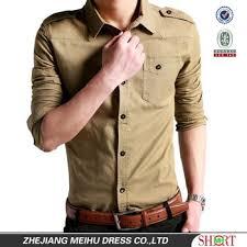 fancy casual khaki 100 cotton fancy casual shoulder shirt
