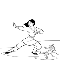 mulan mushu practising martialart coloring download