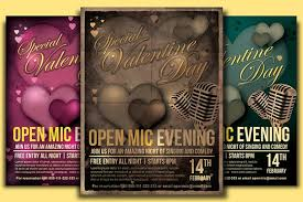 valentine open mic flyer template by designroom1229 on