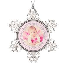 Baby Pink Christmas Decorations Baby U0027s First Christmas Ornaments Zazzle