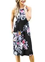 herou women summer beach casual flared floral tank dress at amazon