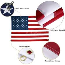 Embroidered American Flag 3x5 American Flag Embroidered Stars Sewn Stripes Grommets Nylon