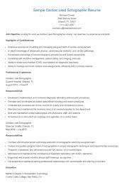 Biomedical Engineering Resume Samples by Sample Cardiac Lead Sonographer Resume Resame Pinterest