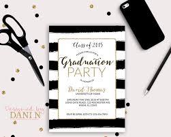 graduation invite black and white stripes graduation invitation gold grad