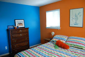 orange wall two colour combination for bedroom walls blue and orange wall color