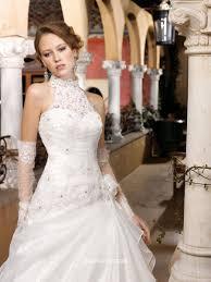 Halter Wedding Dresses Lace Halter Wedding Ball Gown With Side Split Organza Skirt