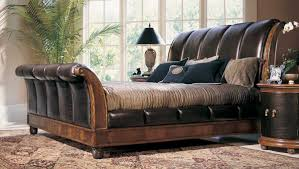 Leather Bedroom Furniture American Drew Bob Mackie Home Classics Sleigh Bed With Crocodile