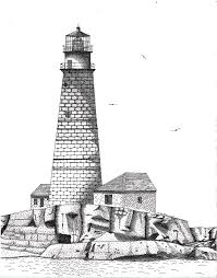 boston harbor lighthouse drawing by tim murray