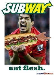 Subway Meme - suarez bites flesh subway sandwich slapped ham