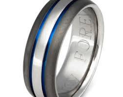 thin line wedding ring titanium wedding band thin blue line ring custom ring