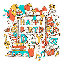 happy birthday card hand drawn doodles gift boxes garlands