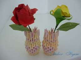 Simple Origami Vase - 3d origami vase with flower atelier ilyere