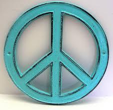peace sign cast iron turquoise wall art shabby chic retro 70 u0027s