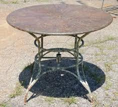 Metal Garden Furniture Umbrella Round Metal Garden Table At 1stdibs
