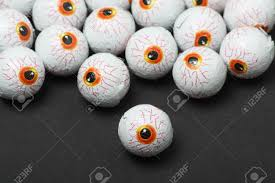 chocolate candy eyeballs for halloween treats stock photo picture