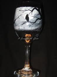 gothic graveyard hand painted wine glass