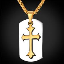 mens christian jewelry dog tags with necklace for mens cross pendant with chain religious