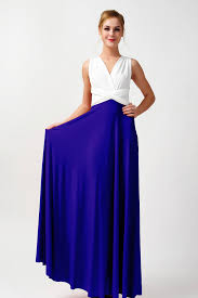 ivory and royal blue infinity bridesmaid dresses two tone dress