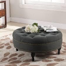 Tufted Grey Ottoman Baxton Studio Palfrey Linen Modern Tufted Ottoman