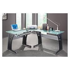 Techni Mobili L Shaped Glass Computer Desk With Chrome Frame Techni Mobili L Shaped Glass Top Computer Desk Graphite