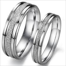 couple rings titanium images Gj094 ruili pearl sand titanium steel couple rings silver men 9 jpg