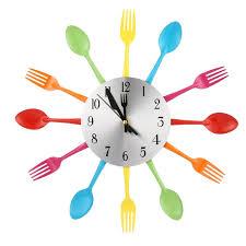 montre de cuisine 3d grande horloge murale design moderne en acier inoxydable fourche