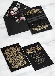 and black wedding invitations striking gold and lace wedding invitation kits deer pearl flowers