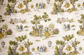 Vintage Drapery Fabric Yellow Gold Blue Toile Fabric French Country Vintage Look