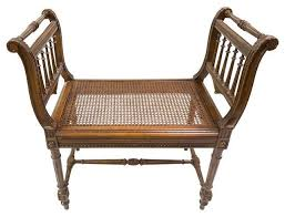 antique wood bench with cane seat indoor benches by chairish