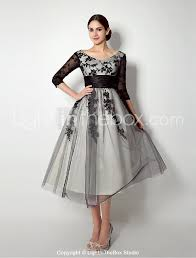 a line bateau neck tea length tulle mother of the bride dress with