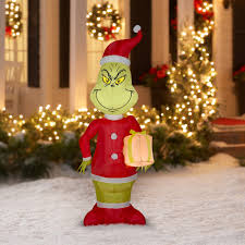 Air Blown Christmas Decorations Grinch Yard Inflatable Blow Up Airblown Outdoor Christmas