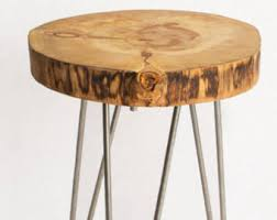 wood slice side table concrete end table live edge wood slice table concrete table