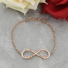 Mothers Bracelets With Names Aliexpress Com Buy Rose Gold Color Infinity 4 Names Bracelet