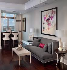 curtains for gray walls apartments dark wood flooring with dark wood round side table and