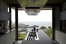 kitchen island glass wall oceanfront holiday houses in punta pite