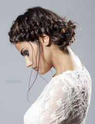 peasant style updo braided headband that starts with a french braid