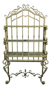 Bakers Rack Shelves Ornate Iron Baker U0027s Rack With Glass Shelves Chairish