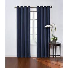 Navy Blackout Curtains Eclipse Blackout And Navy Polyester Grommet Blackout