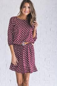 ticket to ride maroon printed dress bella ella boutique online store