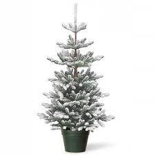 small artificial christmas trees 4ft snowy imperial blue spruce potted feel real artificial