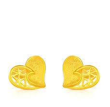 gold earrings in shape genuine solid 24k yellow gold earrings women luck shape stud