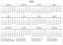 2018 printable calendar with us uk holidays print calendar